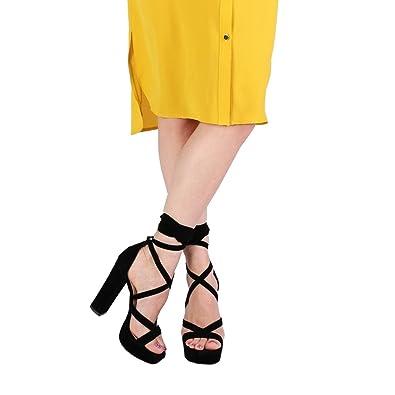 d235bb3e7b31a PUBLIC DESIRE Womens Stella Lace up Heels Faux Suede Shoes Black US 10 (UK 8