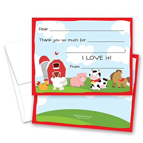 MyExpression.com 20 Barnyard Fill-in Children Birthday Thank You Cards by MyExpression.com