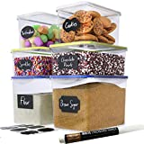 Chef's Path Food Storage Containers - Flour Container - Great for Sugar, Baking Supplies - Airtight Kitchen & Pantry Bulk Food Canisters- BPA-Free - 6 PC Set - 8 Labels & Pen