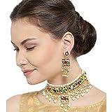Finekraft Meena Kundan Gold Plated Wedding Stylish Jewelry Necklace Set