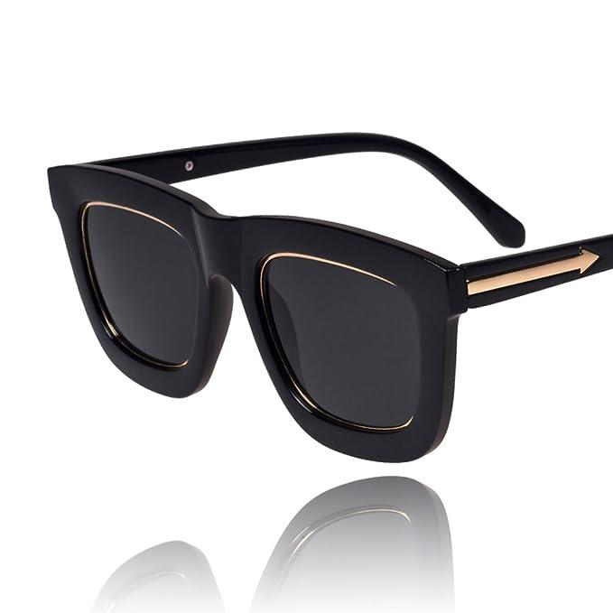 HUOPQLZNWTDHN Gafas de sol de metal flecha/B lado marco grandes gafas de sol/Gafas de sol vintage de Corea en negro/Gafas de sol para hombres y ...