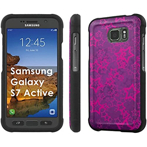 AT&T [Galaxy S7 Active] [5.1 Screen] Armor Case [NakedShield] [Black] Total Armor Protection [Shell Snap] + [Screen Protector] Phone Case - [Purple Stars] for Sales
