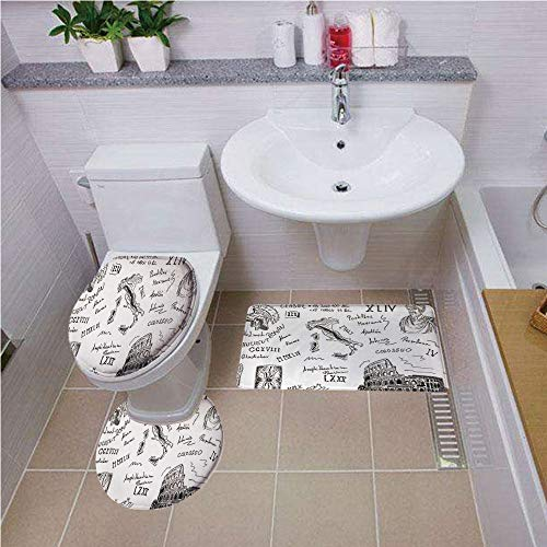 Caesar Bathroom Vanity - Bath mat set Round-Shaped Toilet Mat Area Rug Toilet Lid Covers 3PCS,Toga Party,Ancient Roman Period Icons Caesar Colosseum Gladiator Helmet Sketch Art Decorative,Black and White Bath mat set Round-Sh