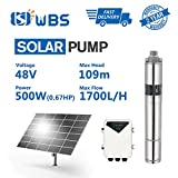 WBS Pump Deep Well Solar Water Pump Screw Pump Submersible Solar Bore Pump, 2/3hp, 48V, 7.5GPM, 358' Head, 3