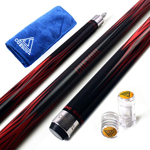 CUESOUL SOOCOO Series 58 inch 19oz Pool Cue Stick,Pool Cue 11.5mm with Cue Joint Protector + Cue Towel