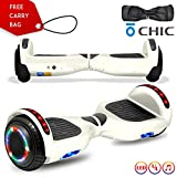 cho Colorful Wheels Series Hoverboard UL2272 Certified Hover Board with 6.5 inch Wheels Electric Scooter Smart Self Balancing Wheels (White)