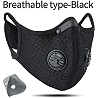 Mask Reusable Dust Mask with Extra Activated Carbon KN95 Filters for Protection Running Training Pollen Allergy Woodworking Mowing Outdoors Painting Construction Lab & Sports Mask Black
