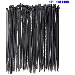 100pack Extra Heavy Duty 12 inch Standard Black Cable Ties Industrial Strength Durable Outdoor Use Zip Ties