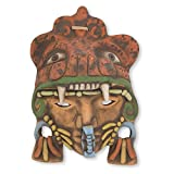 NOVICA Decorative Archaeological Large Ceramic Mask, Earthtone, 'Aztec Jaguar Warrior'
