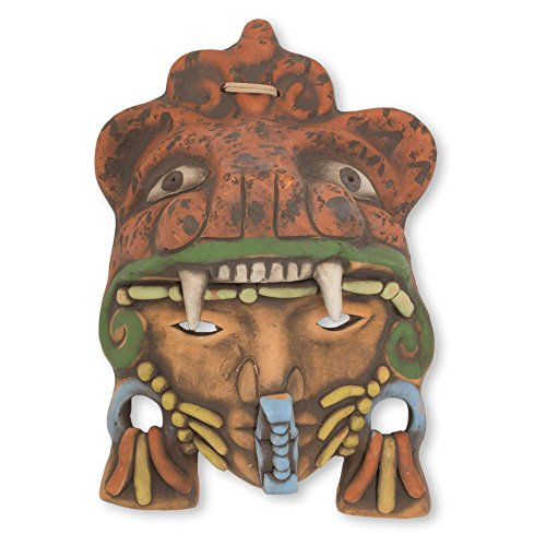 NOVICA 243717 Aztec Jaguar Warrior' Ceramic mask