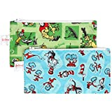 Bumkins Reusable Snack Bag Small 2 Pack, Seuss Cat in the Hat & Green Eggs (SN)