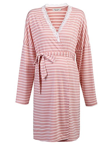 ity Pregnant Robe Labor Delivery Nursing Gowns Hospital Bag (Pink,M) (Hospital Nursing Gown)