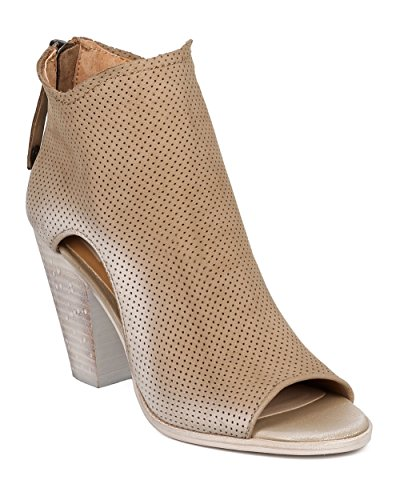 Dolce Vita Women Nubuck Perforated Chunky Heel Bootie - Casual, Versatile, Dressy - Cutout Ankle Boot - Harem by Olive