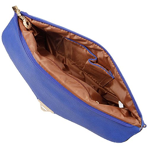 synthétique femme en à rabat pochette main BMC Bleu en Dessus Bleu daim cuir enveloppe à style texturé Saphir pour sac 0wMwXnERq