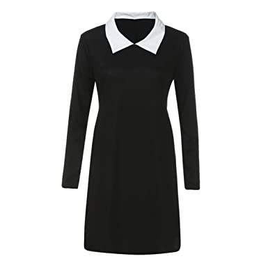 a2959058bb5c3 Bluestercool Womens Ladies Lapel Neck Long Sleeve Turn Down Collar Mini  Dress White  Amazon.co.uk  Clothing
