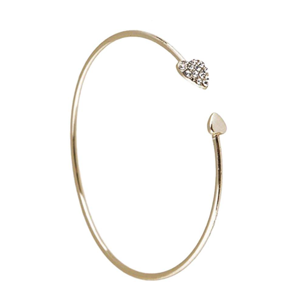 Wansan Heart Shaped Bangle Bracelet Eternal Love Infinity Heart Charm Bracelet Wire Bangle for Women