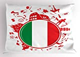 Italian Flag Pillow Sham by Lunarable, Soccer Player Pizza Ice Cream Silhouette National Culture Doodle, Decorative Standard Queen Size Printed Pillowcase, 30 X 20 Inches, Vermilion Green White