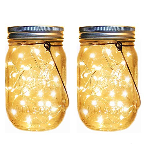 Driftway Sales Solar Lanterns Outdoor Hanging Mason Jar Lights - 20 LEDs Solar Lanterns Outdoor Hanging Waterproof Solar Lanterns for Patio Mason Jar Solar Lights (Set of 2)]()