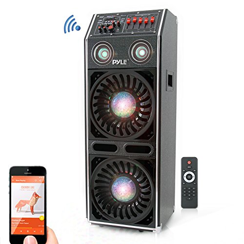 "- DJ Dance Active Speaker System - 1500 Watts PA Stereo Dual 10"" Woofer 3"" Tweeter Built-in Color Lights Bluetooth Streaming MP3/USB/Micro SD/FM Radio w/Wireless Remote & Microphone - Pyle PSUFM1072BT"