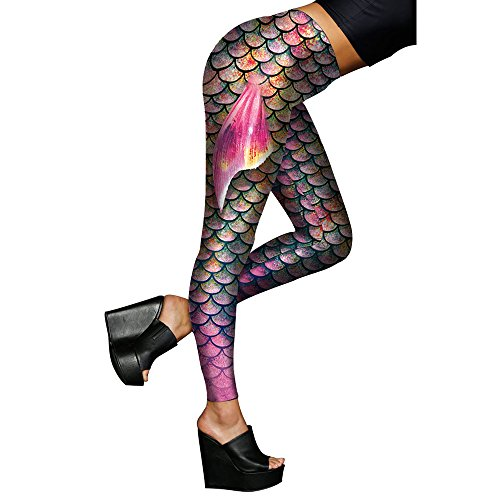 (Alaroo Women Mermaid Leggings with Fish Scale & Fin Print Tights Rainbow)