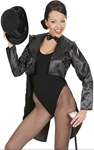 [Tailcoat Black Satin Womens Costume Medium For Hardy Hollywood Film Fancy Dress] (Hollywood Film Fancy Dress Costumes)