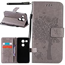 Nexus 5X Case, Linkertech [Stand Feature] PU Leather Wallet Case Flip Protective Cover with Card Slots & Wrist Strap for Google Nexus 5X by LG 5.2 Inch 2nd Gen Smartphone, GRAY