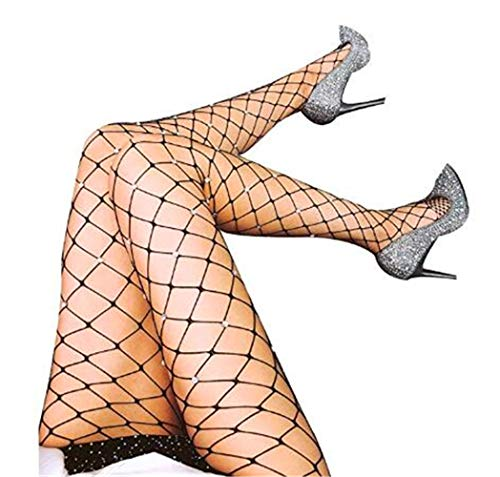 KACY High Waist Tight Stockings Net Big Cross Fishnet Women Seamless Nylon Large MeshPantyhose Hot Chic Vintage Sexy Black (M, Blacks stockings White Diamond)