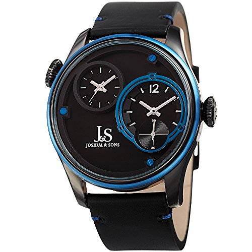 Joshua & Sons Dual Time Zone Blue Accented Black Dial and Blue Bezel with Genuine Leather Black Strap Watch - Zone Swiss Time