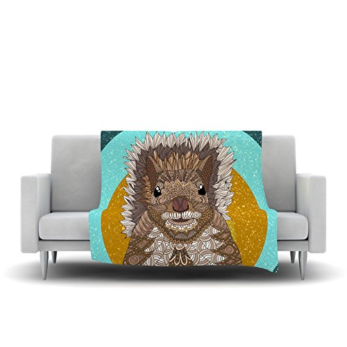 Kess InHouse Art Love Passion Squirrel Teal Brown Fleece Throw Blanket, 80 by 60' 80 by 60 AP1010AFB03