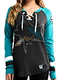 NHL San Jose Sharks Women's Hip Check Long Sleeve Lace-Up Tee, X-Large, Black/Active Blue/White