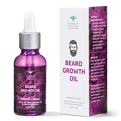 Bombay Shaving Company Beard Growth Oil Powered with Vetiver & 4 Essential Oils for Thicker Beard Growth, 30 ml | Made…