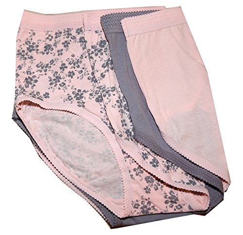 Delta Burke Soft Cotton Breezy Full Brief Style Panties Set Of 3 (8, Baby Pink/Grey Floral - Baby Pink - ()