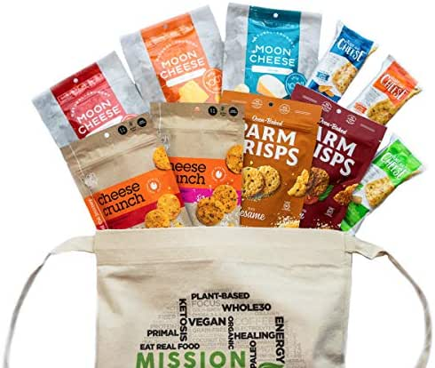 MISSION NUTRITION KETO CHEESE SNACK PACK - Low Carb Snack , 1g Carbs or less, Ketogenic Friendly – Moon Cheese, Just The Cheese Bars, Parm Crisps, High Key Cheese Crunch – Variety Pack (10 Count)