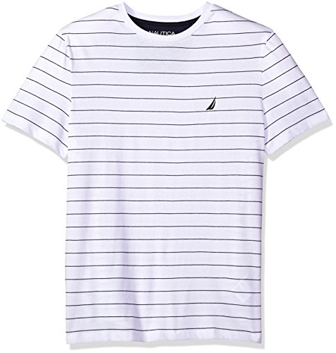 Nautica Men's Short Sleeve Striped Crew Neck T-Shirt, Bright White, Large