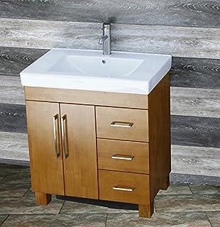 Solid Wood Bathroom Vanity Cabinet White Tech Stone Quartz - Wooden bathroom sink cabinets