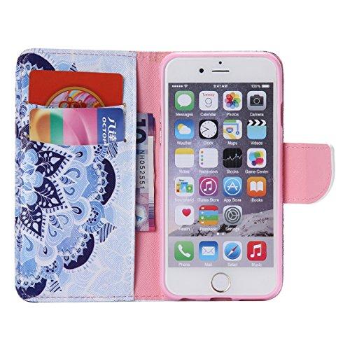 """iPhone 6 / iPhone 6S (4.7"""") Coque , Apple iPhone 6 / iPhone 6S (4.7-inch) Coque Lifetrut® [ fleurs de Datura ] Luxe Premium Portefeuille Flip mignon Coque TPU souple Folio en cuir PU intégré dans la c"""