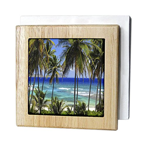 島Swag Designsトロピカル – Tropical日シーンwith Swaying Palm Trees and Glimpsesのブルーオーシャン – タイルナプキンホルダー 6