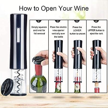 HFFSGS Conjunto de abridores de botellas de vino eléctrico - abrelatas de abrigo de sacacorchos automáticos impulsos inalámbricos con cortador de lámina tapón de vacío vino vino de vino para el amante