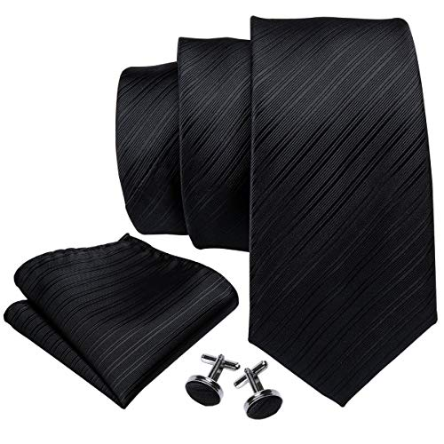 Barry.Wang Mens Solid Black Tie Set Stain Silk Necktie Handkerchief Cufflinks