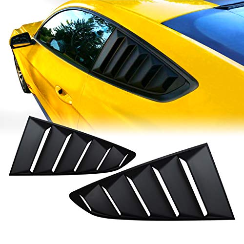 Allinoneparts Matte Black GT 5 Vents Style Quarter Side Window Scoop Louvers for Ford Mustang 2015 2016 2017 ()