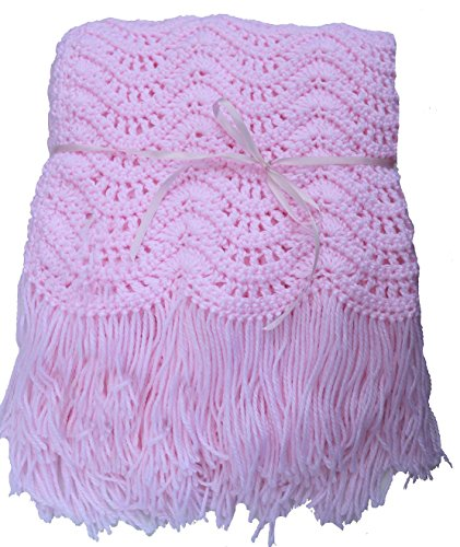 Pink, Blue, Yellow, or White Crocheted Girls Baby Afghan, Crib Size Blanket 45