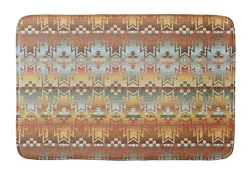Yesstd Tribal Native American Brown Beige Blue prin Absorbent Super Cozy Bathroom Rug Doormat Welcome Mat Indoor/Outdoor Bath Floor Rug Decor Art Print with Non Slip Backing 24