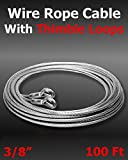 100 ft 3/8'' Galvanized Wire Rope Cable With Thimble Loops On Both Ends Choose Size/Quantity In Listing Super-Deals-Shop