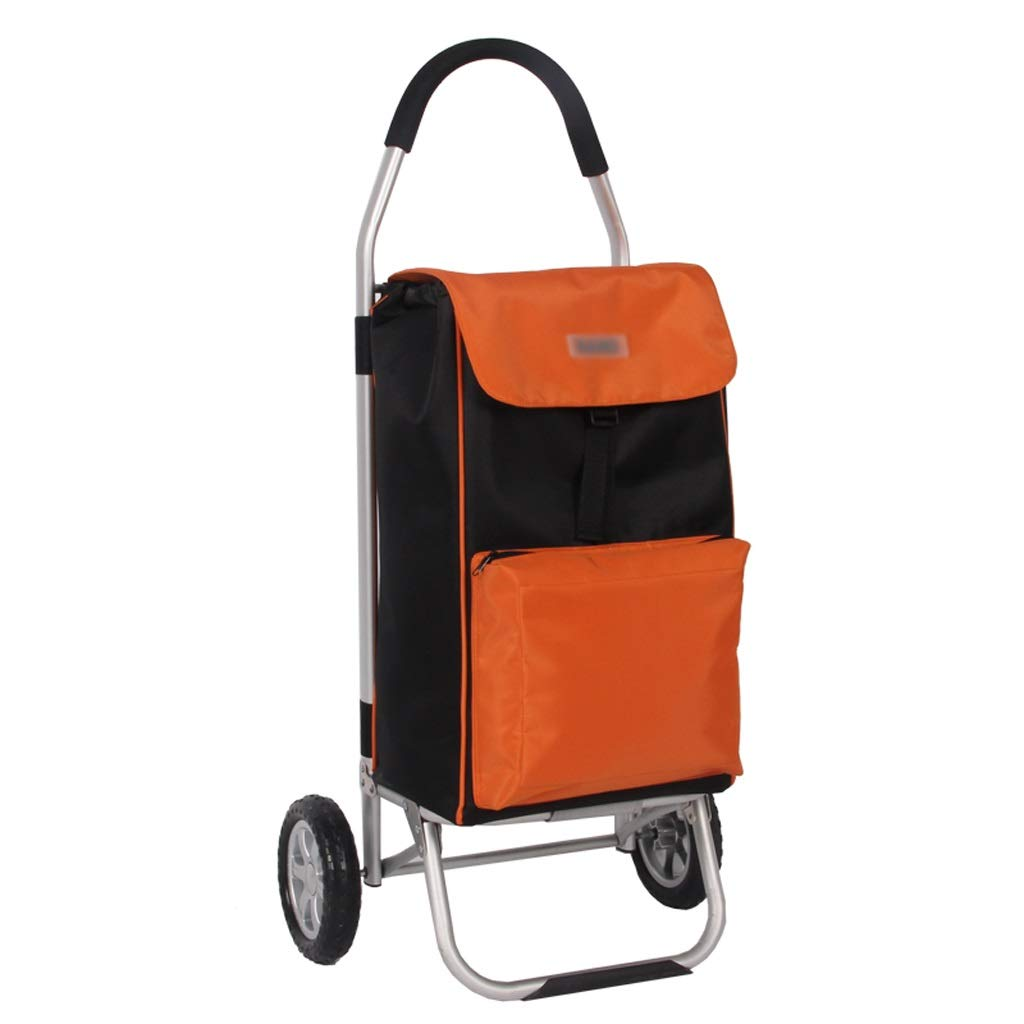 Xilinshop Portable Utility Carts Aluminum Alloy Shopping Cart Portable Folding Shopping Cart Home Grocery Shopping Cart ( Color : Orange )