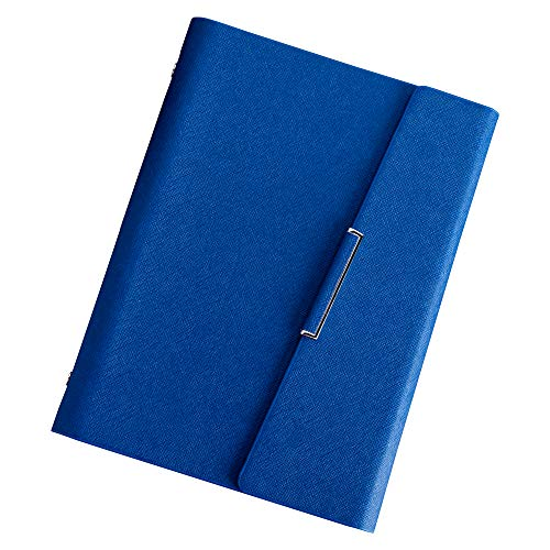 (CAIZHE Refillable Hardcover Journal Notebook PU Leather Loose Leaf Notebook, Inner Pocket / 6 Ring / Cream Paper / 80 Sheets / 5.5×8.25inch(Blue))