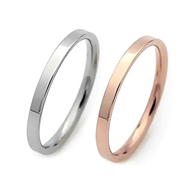 Amazon.com: ELBLUVF Stainless Steel Thin Band Ring Hammered Stacking ...