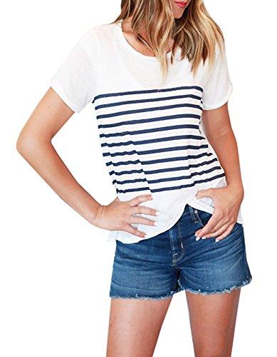 Foshow Womens Striped Shirt T-Shirts Casual Cute Tees Summer Short Sleeve Tops