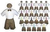 Baby Toddler Boy Event Party Suit DARK TAUPE Shorts Shirt Hat Necktie set Sm-4T (3T, White)