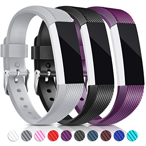 Konikit Fitbit Alta Bands and Fitbit Alta HR Bands(3PACK), Newest Adjustable Sports Strap With Stainless Steel Buckle Replacement WristBands for Fitbit Alta and Fitbit Alta HR, Small&Large