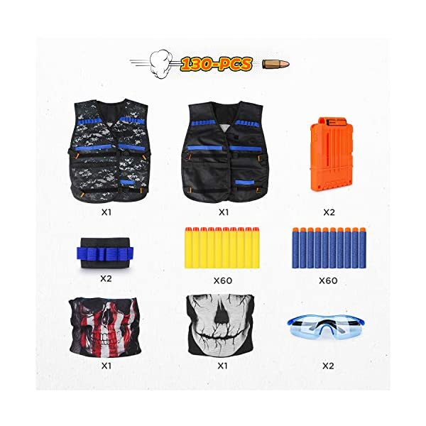 Kids-Tactical-Vest-Kit-for-Nerf-Guns-Series-with-Refill-DartsDart-Pouch-Reload-Clips-Tactical-Mask-Wrist-Band-and-Protective-GlassesNerf-Vest-Toys-for-4-5-6-7-8-9-10-11-12-Year-Boys2-Pack